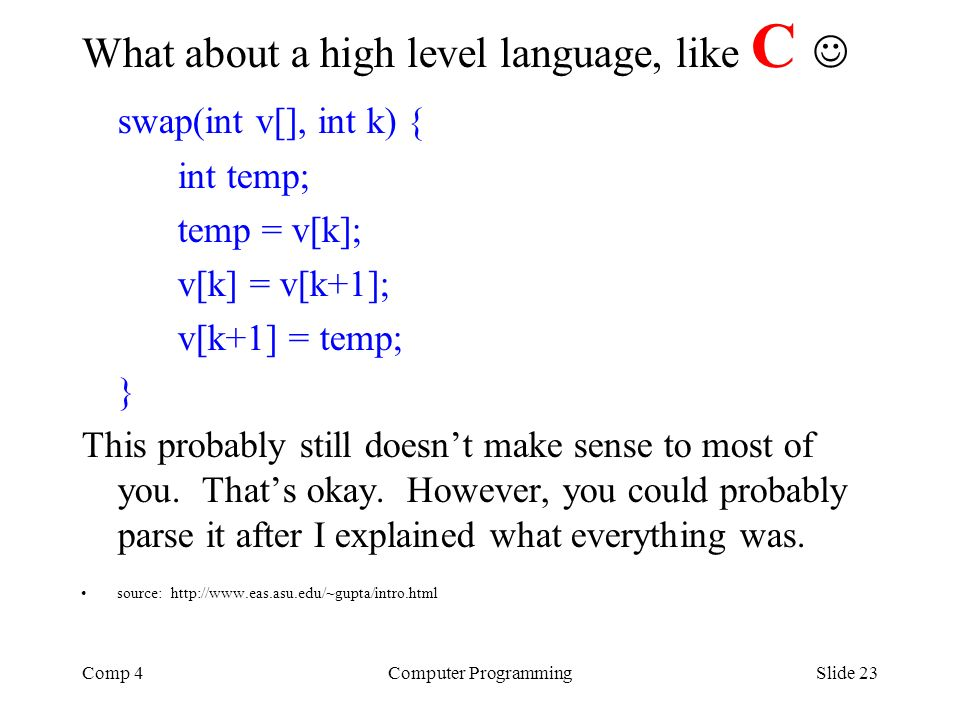 What about a high level language, like C  swap(int v[], int k) {